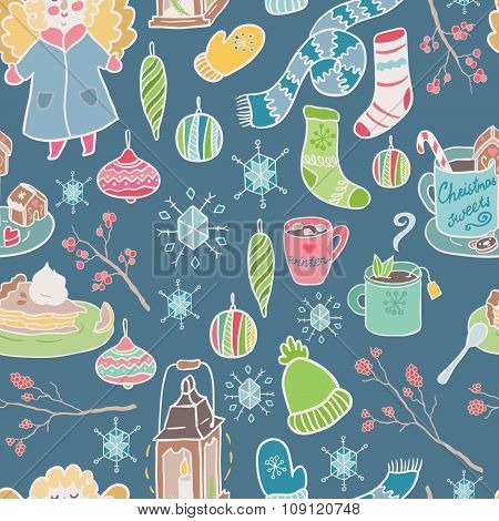 Winter fun seamless vector pattern. Traditional decorative Christmas elements.