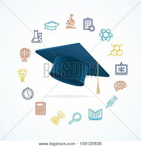 Science Education  Concept and Icons Set. Vector