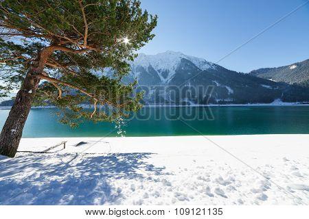 Idyllic Mountain Lake Winter Landscape.