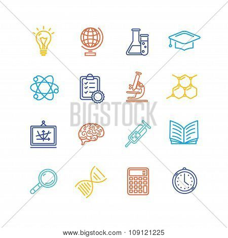 Science Outline Colorful Icons Set. Vector