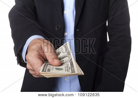 Man In Suit With Dollars