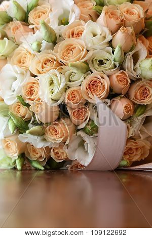 Wedding Bouquet On Tabletop