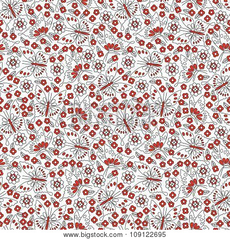 Seamless pattern with flowers and butterflies in red, black and white colors. Cute spring background