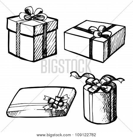Set Of Grunge Christmas Gift Boxes
