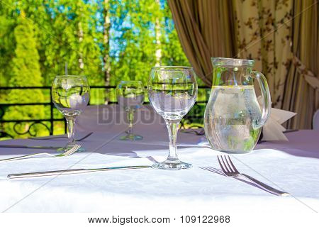 Table with white tablecloth