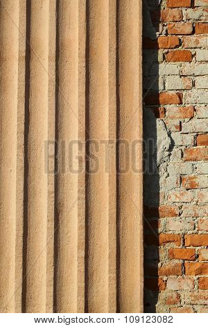 Plastered Ribbed And Bricks Facade