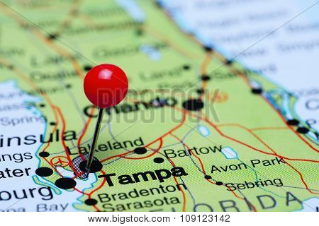 Tampa pinned on a map of USA