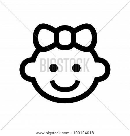Girl Baby Face Icon Logo. Vector