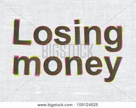 Money concept: Losing Money on fabric texture background