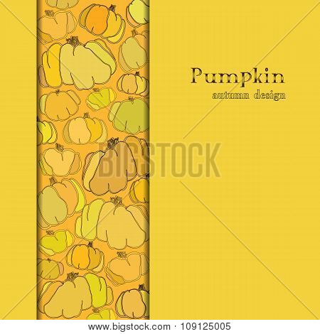 Golden autumn background with border design pumpkin pattern. Text place.