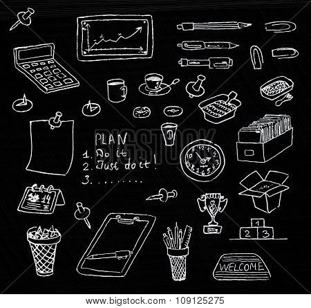 Hand drawn business icons set in chalkboard background