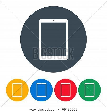 Tablet Icons Colorful Set On The White Background. Stock Vector Illustration Eps10