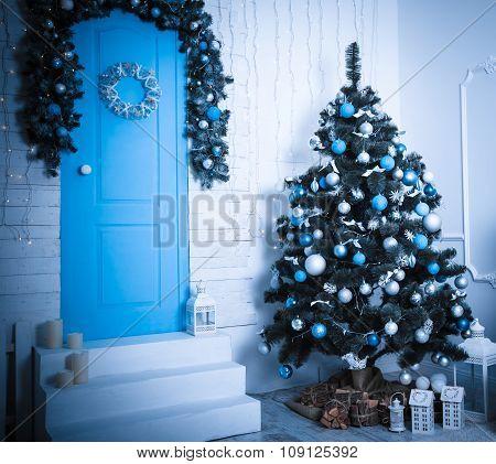 Christmas Living Room. Blue Toned