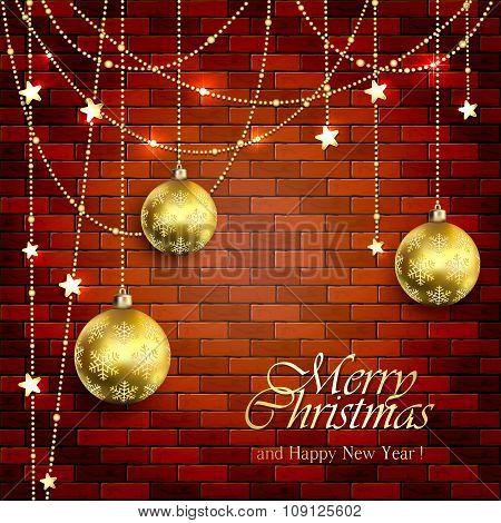 Christmas Balls On A Brick Wall