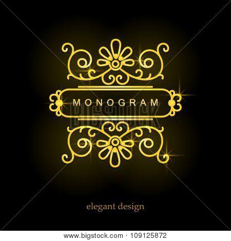 Stylish elegant monogram, mono line art design logo
