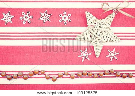 Retro Style Christmas Background On Linen Texture