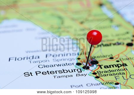 St Petersburg pinned on a map of USA