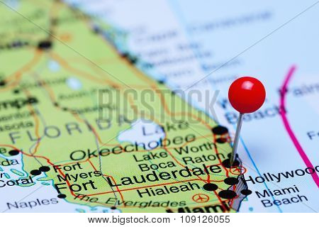 Fort Lauderdale pinned on a map of USA
