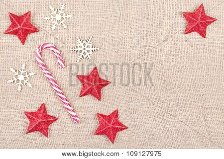 Christmas Decorations On Jute, Space For Text.