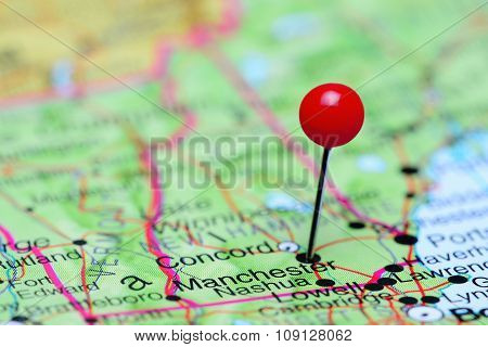 Manchester pinned on a map of USA