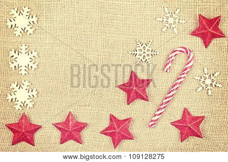 Vintage Toned Christmas Background On Jute, Space For Text