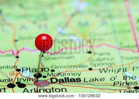 Dallas pinned on a map of USA