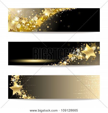 Set Of Banners With Gold Stars