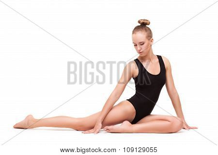 young slender gymnastic woman