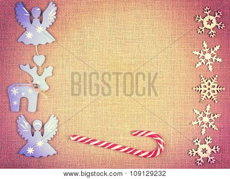 Vintage Toned Christmas Decoration On Jute, Space For Text