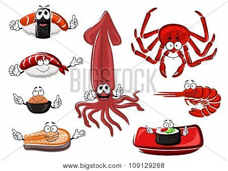 Fresh and tasty cartoon seafood