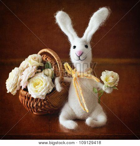 Homemade toy rabbit.
