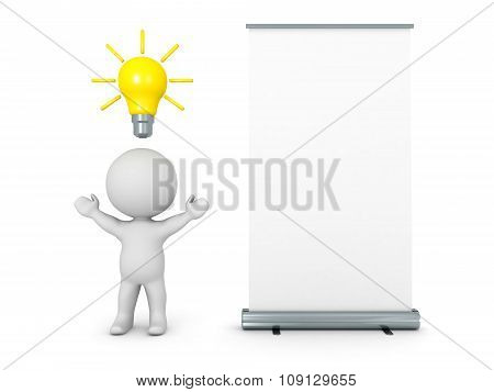 3D Character With Idea Light Bulb And Rollup Poster