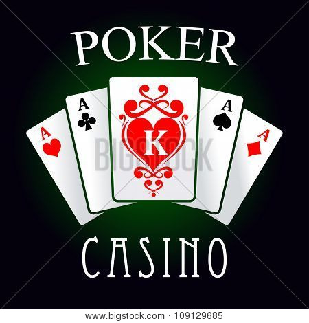 Poker game icon with four aces and king cards