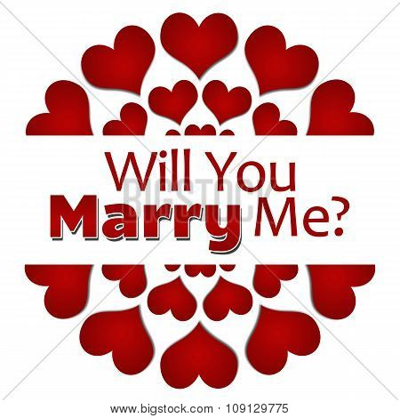Will You Marry Me Red Hearts Circular Square