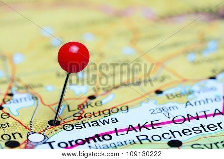 Oshawa pinned on a map of Canada
