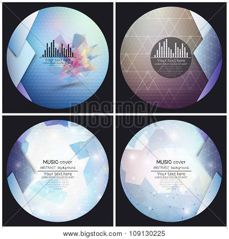Set of 4 music album cover templates. Abstract backgrounds. Geometrical patterns. Triangular style v