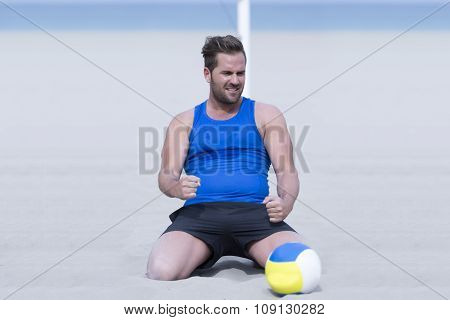 Beach Volley Male Player Celebrating