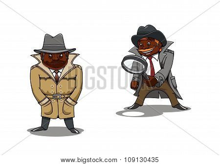 Cartoon detective and spy with magnifier