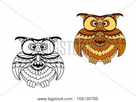 Cartoon outline and brown owl bird