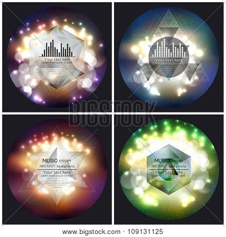 Set of 4 music album cover templates. Abstract multicolored backgrounds with bokeh lights and stars,