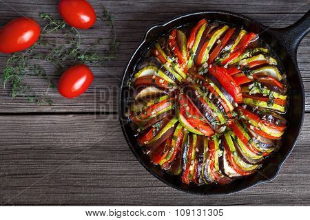 Vegetable ratatouille baked in cast iron frying pan homemade preparation recipe healthy diet french