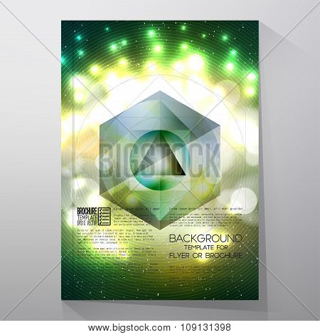 Business templates for brochure, flyer or booklet. Abstract multicolored background with bokeh light