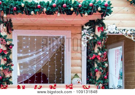 Window Decorated In Christmas Style
