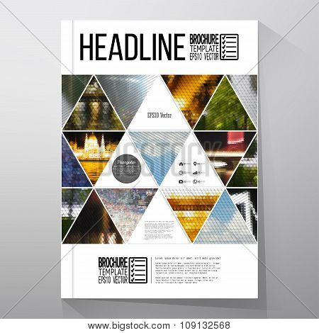 Business templates for brochure, flyer or booklet. Abstract multicolored background of nature landsc