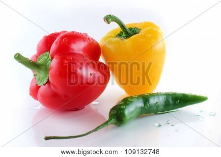 Bell Pepper With Water Droplets In White Background