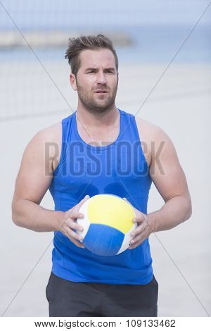 Volley Player On The Beach.
