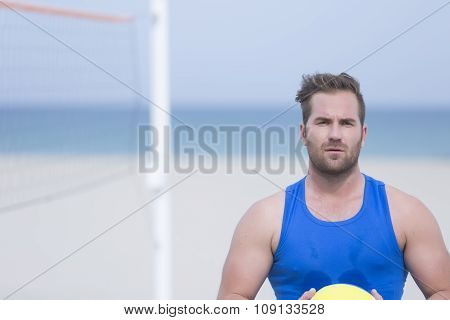 Volleyball Player On The Beach.