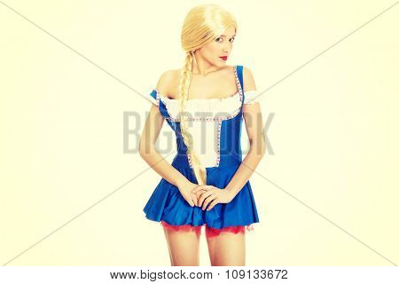 Oktoberfest woman wearing traditional Bavarian dress.