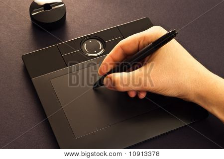 Hand On Drawing Tablet