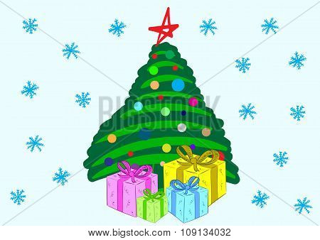 The stylized fir-tree with gifts